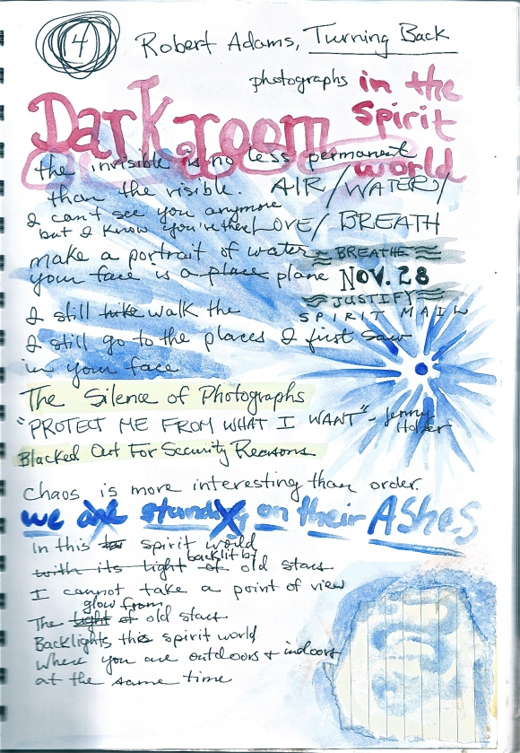"Journal page from 11/28/11: notes for my poem, ""Darkroom."""